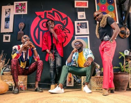 Sauti Sol can't keep calm after their billboard was spotted in New York (Photo)
