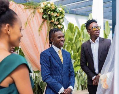 Mr Seed weds baby mama, Nimo Gachuiri in low key white wedding (Photos)