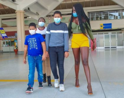 Akothee Emotional After Re-uniting With Baby Daddy And Her Two Sons (Video)