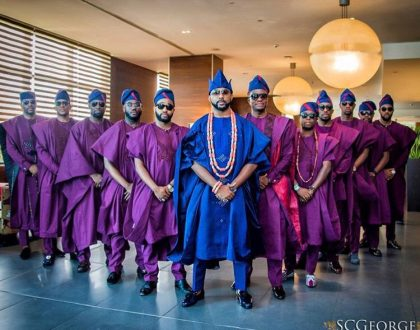 Dashing groomsmen at the traditional wedding of Banky W and Adesua Etomi
