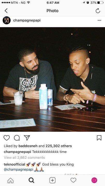 Drake shares hangout photo of himself and Tekno