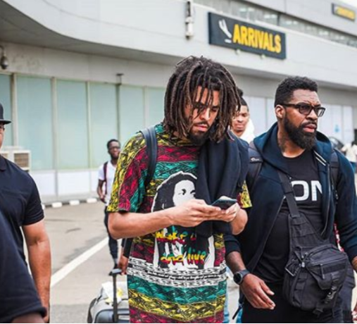 J Cole arrives in Lagos for Castle Lite unlocks concert