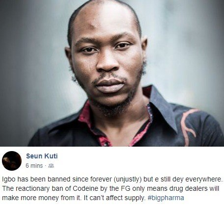 """""""Drug Dealers will make money from the ban of codeine""""- Seun Kuti"""