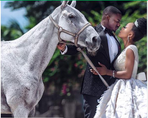 Leo and Ifu Ennada in wedding inspired photos