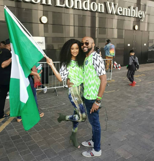 Photos of Banky W and Adesua Etomi in their Super Eagles jersey