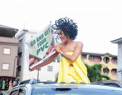 Chika Lann  goes on a PVC campaign at Balogun market
