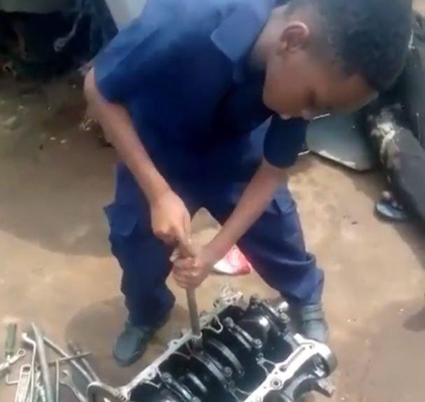 Kunle Afolayan 8 year old son, Darimisire interns as a mechanic