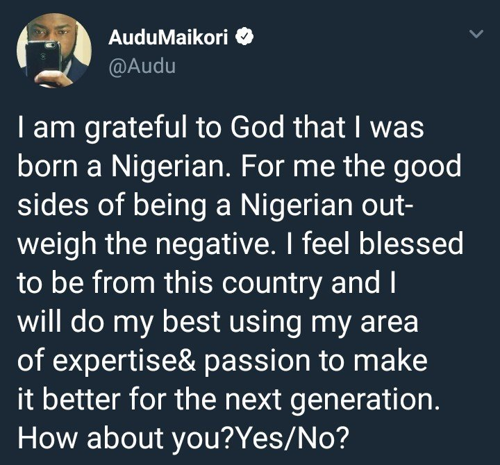 Audu Maikori says he is a proud Nigerian