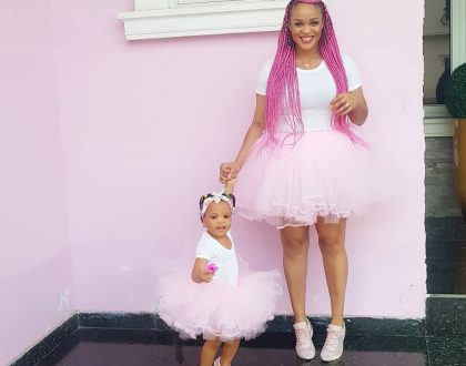 cute photos of Adaeze Yobo and her daughter