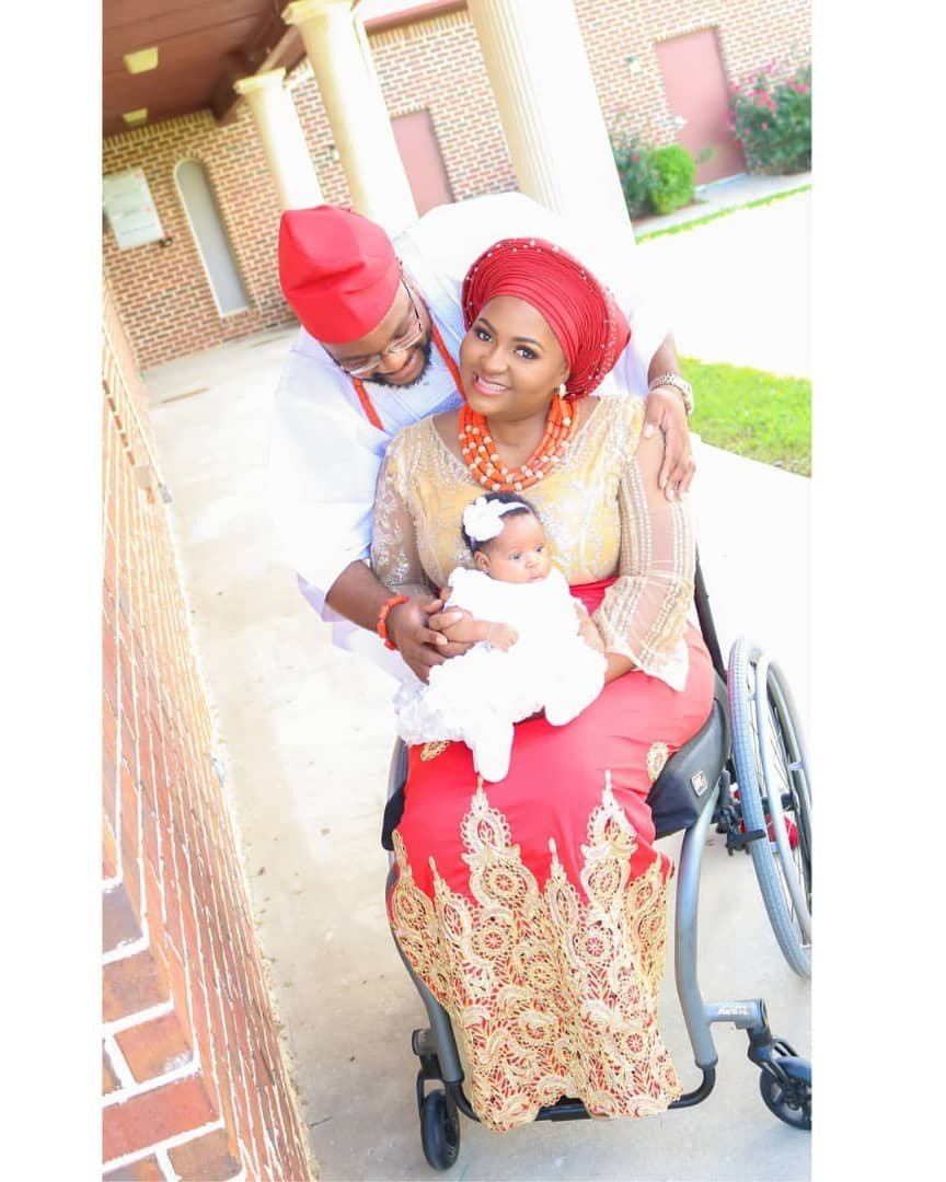 See photos from the child dedication of physically challenged blogger, Lizzy