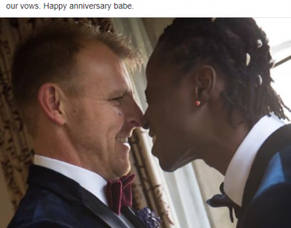 Gay rights activist, Bisi Alimi celebrates 2nd year anniversary with husband, Anthony Davis