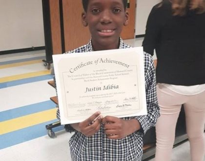 """Justin Idibia, 2face second son bags """"Black Students Academic Achievement Award"""" in his school"""