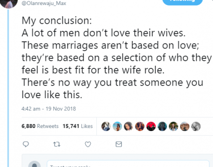 """A lot of men don't love their wives"" - Twitter user"