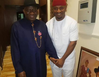 Yul Edochie pays a visit to ex-president Goodluck Ebele Jonathan