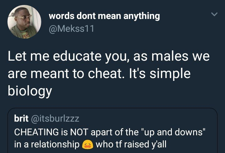 Lol, read this lady's reply to a guy who said men are  meant to cheat