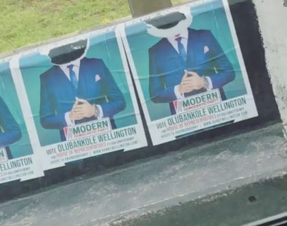 Banky W cries out after his  campaign posters were vandalized
