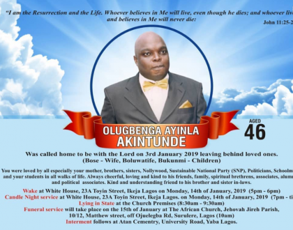 Actor Gbenga Akintunde to be buried on the 15th of January