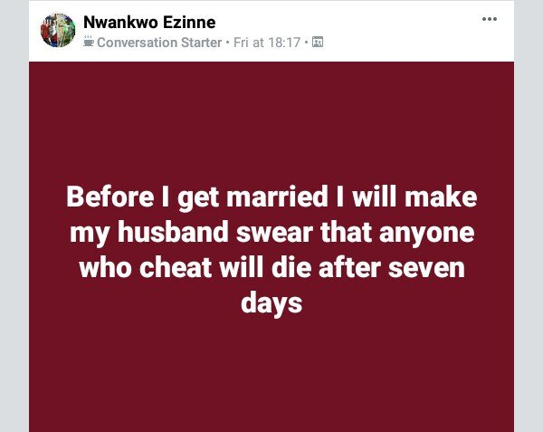 Facebook User to make her husband-to-be swear to death before their marriage