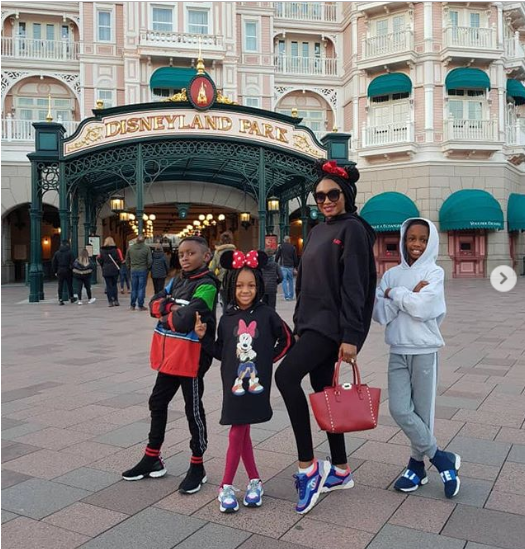 Photos of Odion Ighalo's family at Disneyland Park