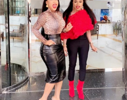 Photos of Tonto Dikeh, a mystery man and her bestie Bobrisky enjoying their vacation in Dubai
