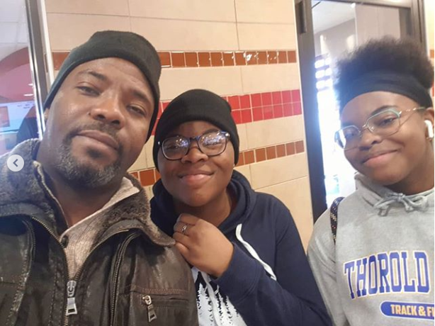 Cute photo of comedian Okey Bakassi and his daughters