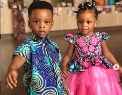 Photos of Paul Okoye's twins, Nathan, and Nadia at their school's cultural day