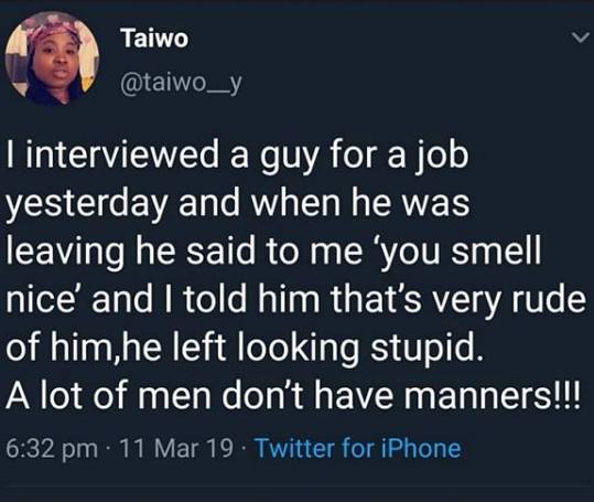 Is it wrong to tell your interviewer that he/she smells nice?