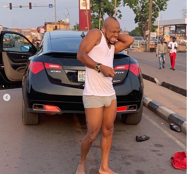 Charles Okocha flaunts his eggplant in public