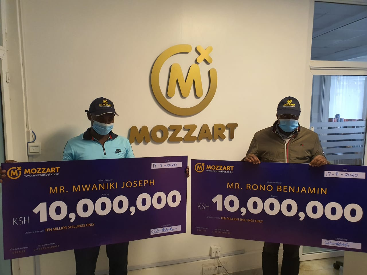 Two lucky gamers strike it rich with Ksh. 10M each from the Mozzart Daily Jackpot on the same day!