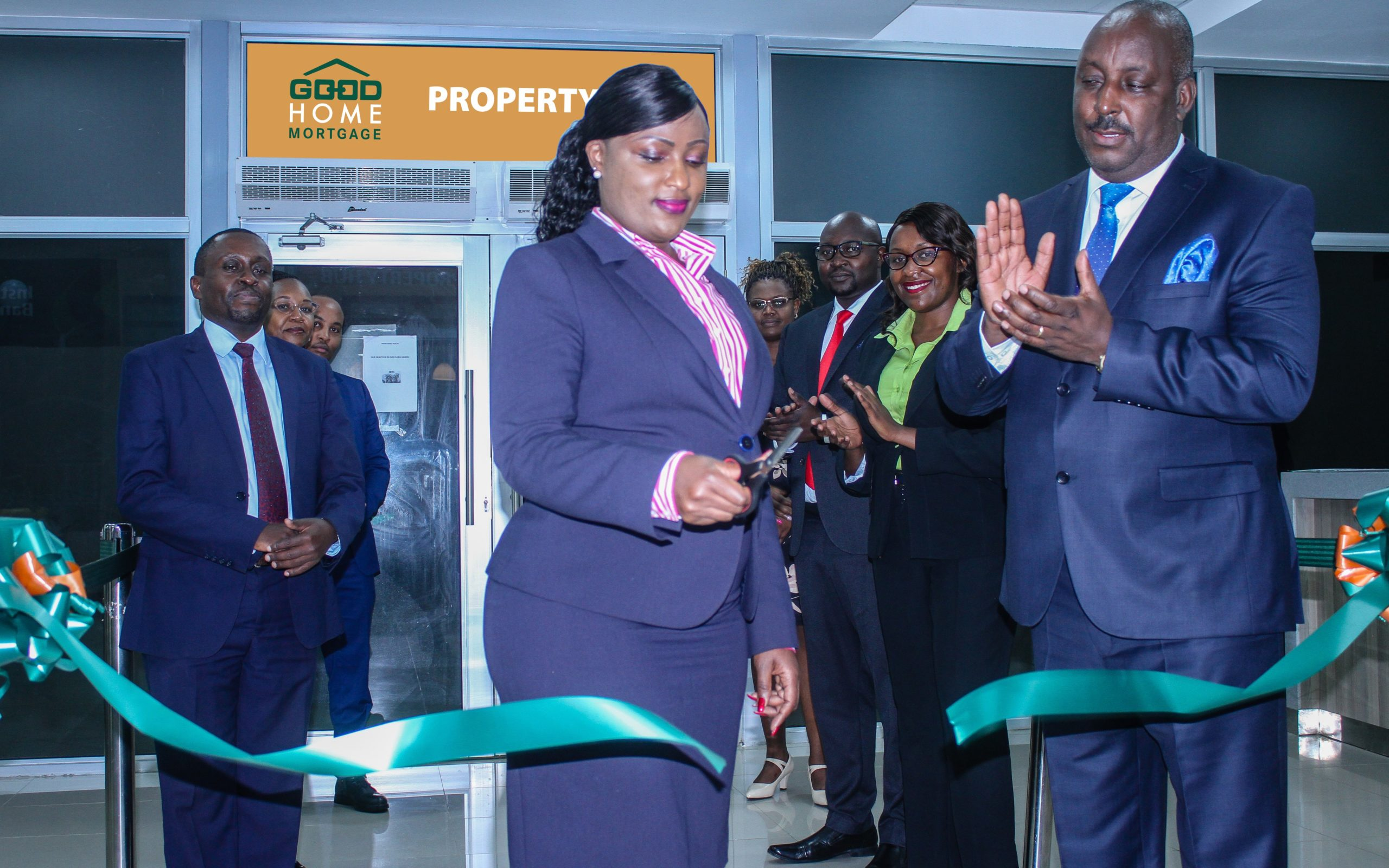 Jacquelyne Waithaka, the Director of Corporate & Institutional Banking at Co-operative Bank and Chris Chege, the Bank's Head of Mortgage Finance launch the GoodHome Property Hub at KUSCCO Center, Upperhill on 28th September 2020. Looking on are Patrick Macharia, the Property Hub Manager and other members of staff who serve customers at the Property Hub.