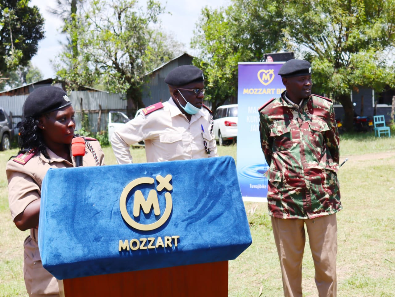 Mrs. Mercy Langat, the Area Chief speaks during the Mozzart event.