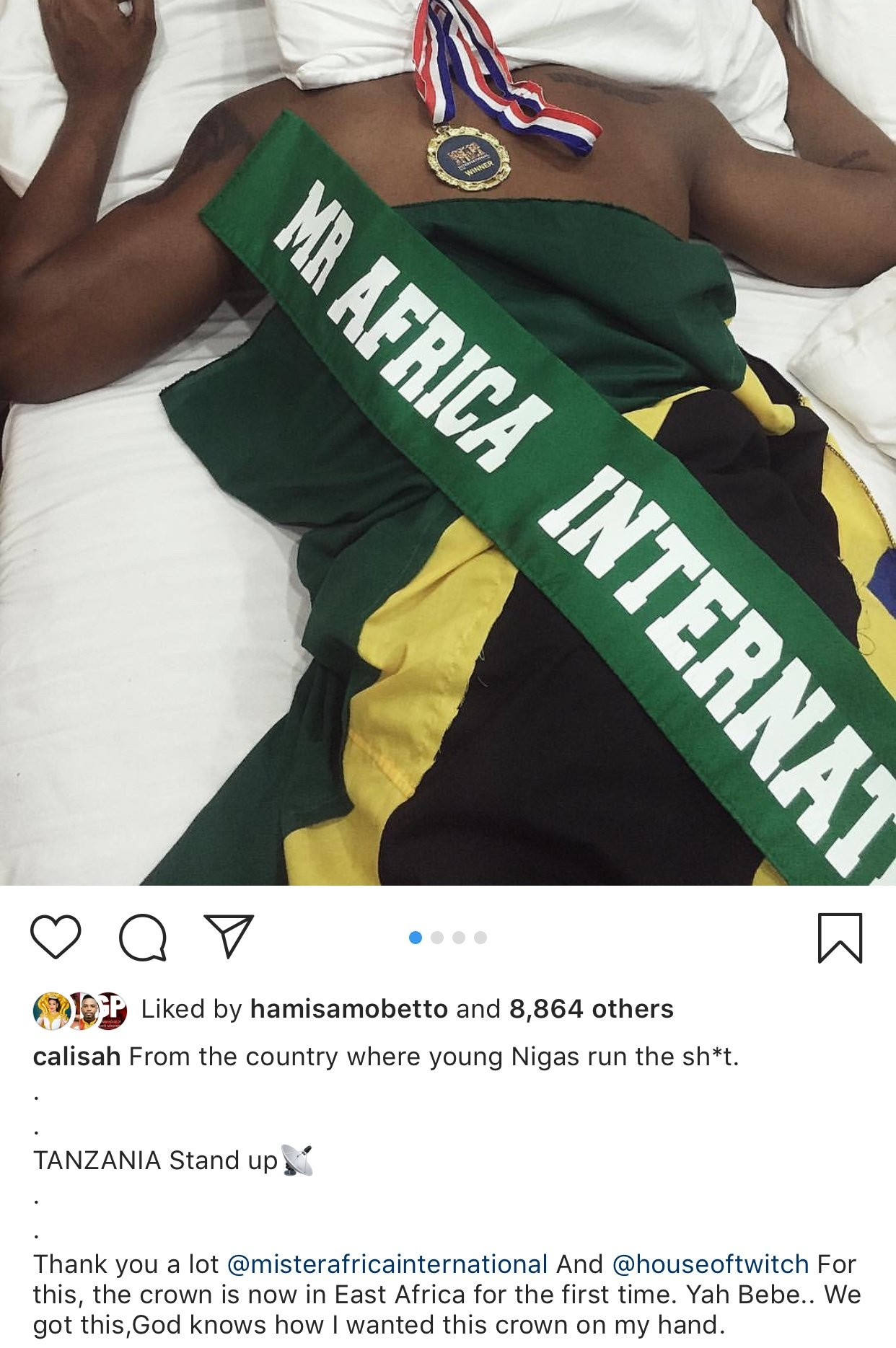 Calisah Amwaga Povu Zito Baada Ya Kushinda Mr. Africa