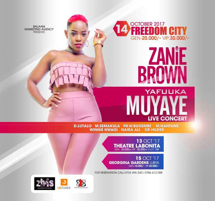 Zanie Brown Sets Dates and Venues For Concert