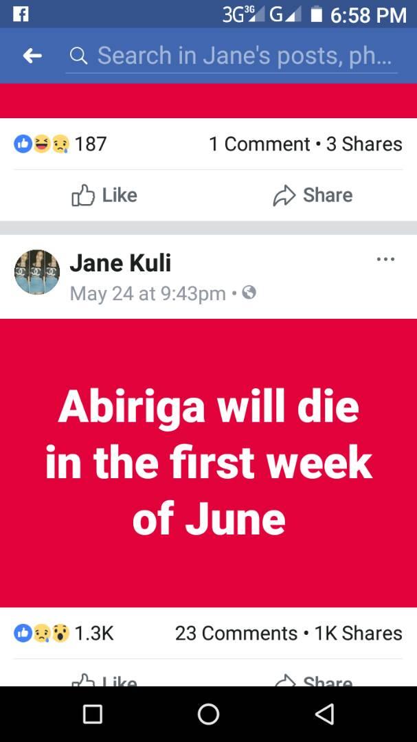 "Girl ""Predicts"" Abiriga's death. Fools Ugandans"