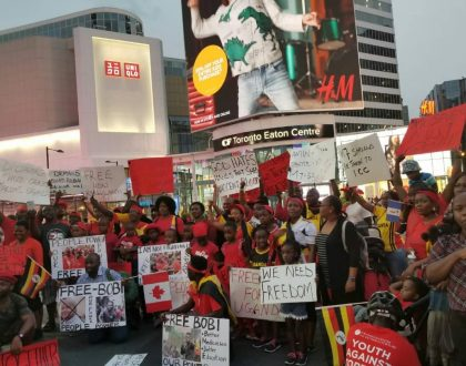 Ugandans in the Diaspora March in support of Bobi Wine.