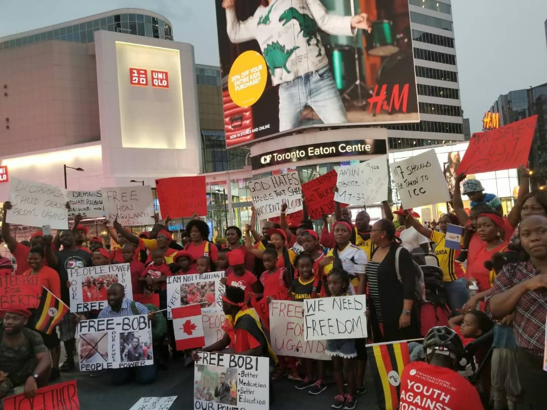 Ugandans in the Diaspora March in support of Bobi Wine.