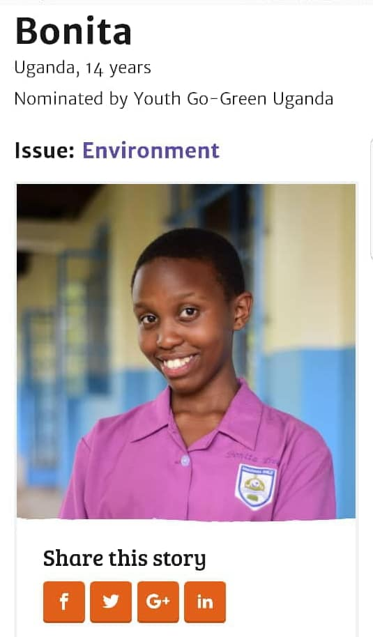 14 Year Old Bonita Murungi Nominated For the 2018 International Children's Peace Prize