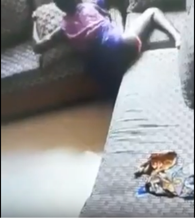 This CCTV Footage of an alleged Kenyan House girl Attempting to have sex with a sofa set is the most horrifying thing you will see today