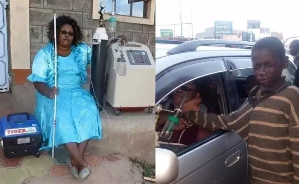 Gladys Kamande who was blind and survived on oxygen tank can now see again after five years of blindness (Photos)