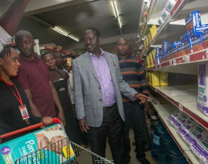 The truth about employees 'sacked' after attending to Raila when he shopped at Uchumi Supermarket and found no unga
