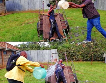 Machachari crew pour gallons of water on Baha during his birthday celebrations(photos)