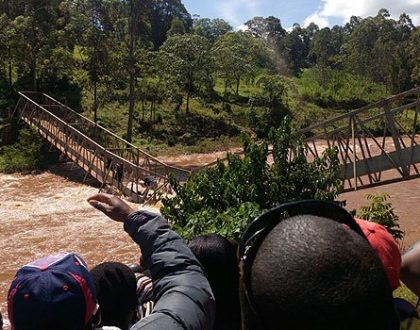 Alfred Mutua cheats deaths after almost being washed away by floods while touring county