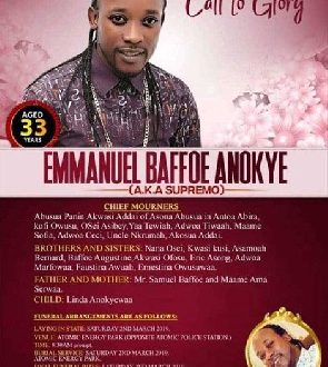 Funeral Poster Of The Late Anokye Supremo Hits Social Media