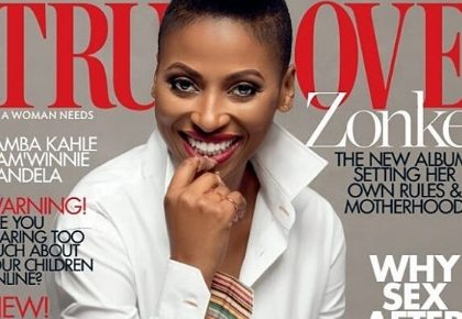 Zonke looks gracious on the cover of True Love