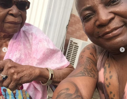 Photos of Charly Boy and 101 years-old grandma