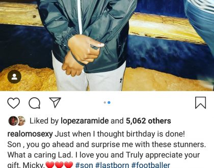 Omotola Jolade Gets Surprise Gift from her Youngest Son